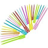 Hekisn Large-Eye Plastic Sewing Needles, Colorful Safety Lacing Needles, 3 Different Sizes Yarn Sewing Needle, Learning Needl