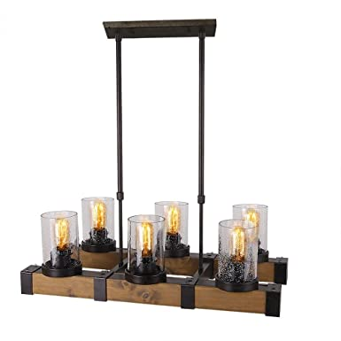 Anmytek Metal Wood and Glass Chandelier Pendent Light Retro Rustic Loft Antique Lamp Edison Vintage Pipe Sconce Decorative Light Fixtures and Ceiling Light Luminaire Six Lights