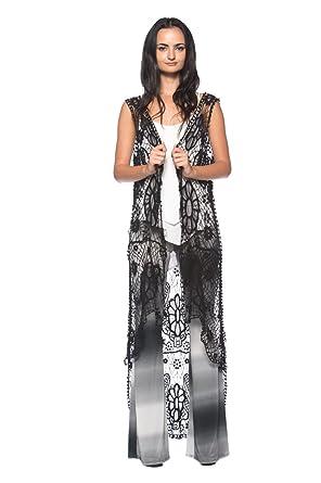 Womens Plus Bohemian Sheer Crochet Doily Lace Vintage 60s 70s Long Duster Vest Black