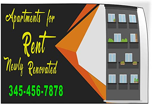 Custom Door Decals Vinyl Stickers Multiple Sizes Apartment for Rent Newly Renovated Business Apartment Outdoor Luggage /& Bumper Stickers for Cars Black 30X20Inches Set of 10