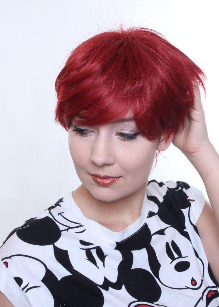 Prettyland C514 - peluca corta pasos agotados de corte color intenso partido de la peluca de Cosplay - Rojo