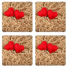 Luxlady Natural Rubber Square Coaster IMAGE ID: 24722738 Two felt red hearts on the sawdust