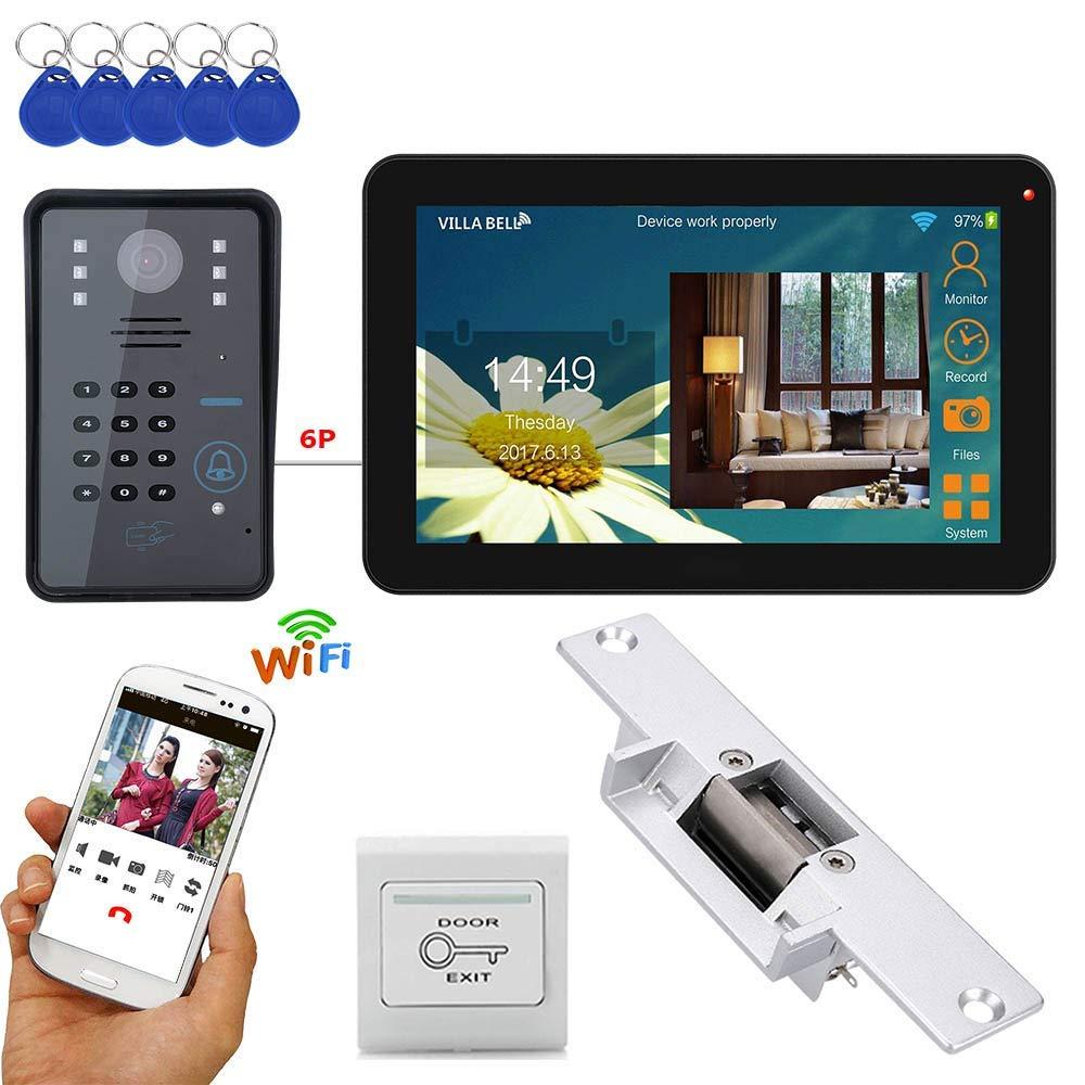 TQ 9-inch wired wireless Wifi RFID password video doorphone doorbell intercom system with electric lock + IR-CUT HD 1000TVL camera