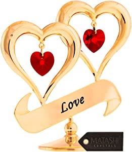 Matashi 24K Gold Plated Crystal Studded Love Inscribed Double Heart Ornament (Red Crystals) Gift for Love, Mom, Christmas, Valentine Day