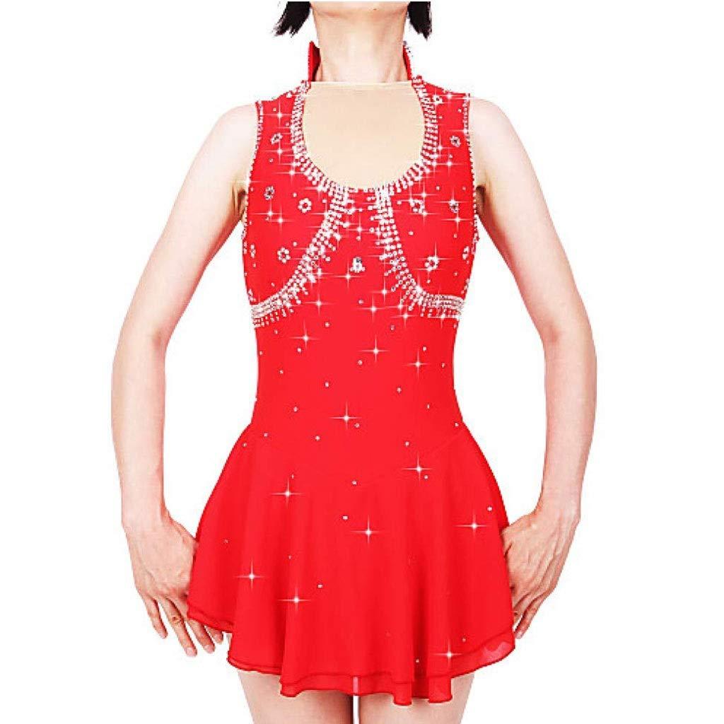 フィギュアスケートドレス、女性の女の子の赤いスパンデックスストレッチ糸高弾性プロの競争スケートウェア手作りファッションノースリーブアイススケートウィンタースポーツ レッド Child12