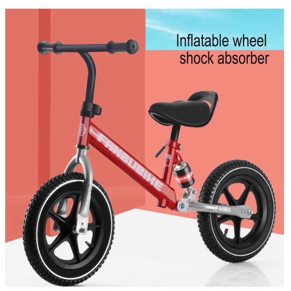 CHRISTMAD 12 Pollici Balance Bike - Altezza del Sedile Regolabile Telaio in Acciaio Ad Alto Carbonio Ruota Pneumatica Ultra Leggero + Equipaggiamento Protettivo, 2-6 Anni 80-120 Cm,B