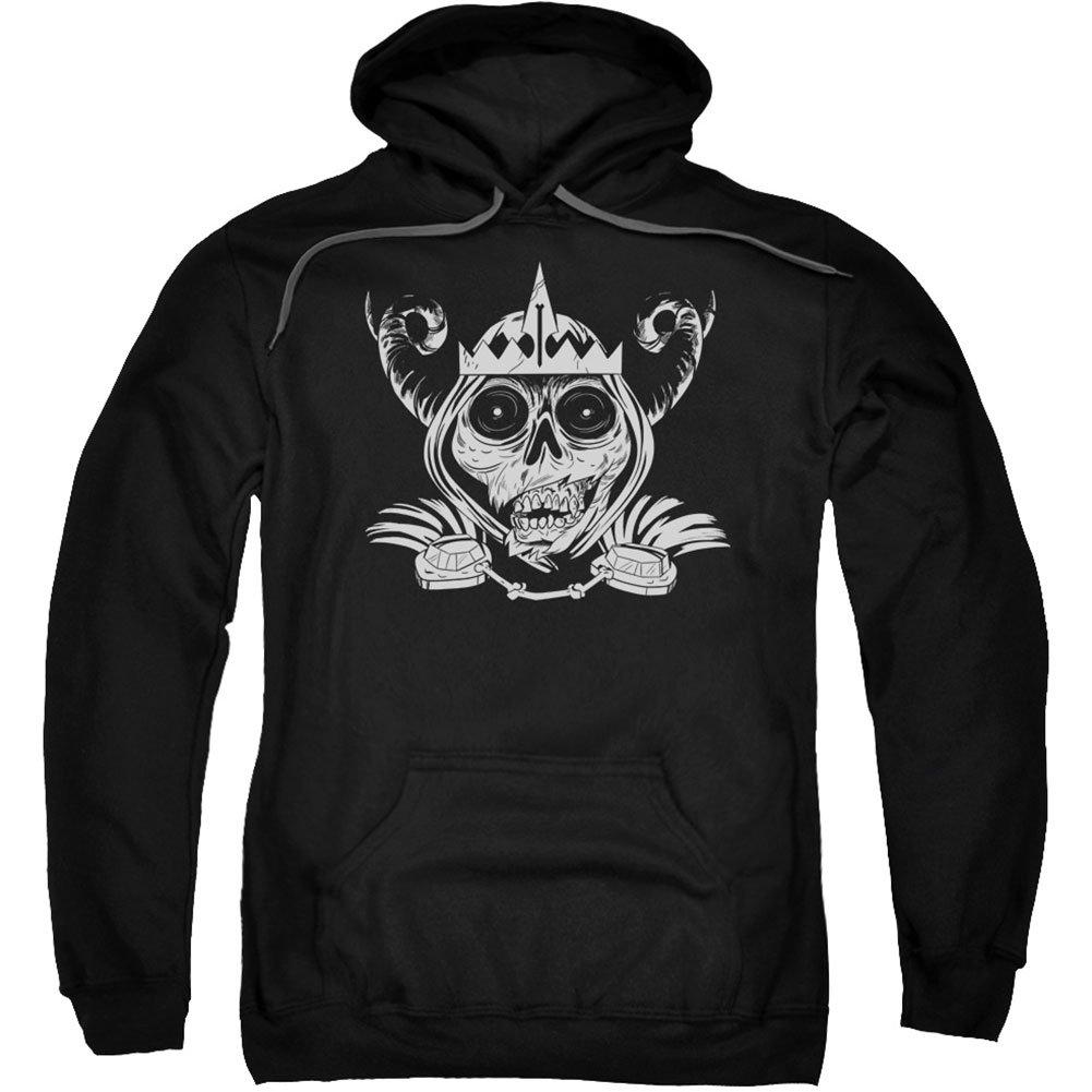 Adventure Time Men's Skull Face Hooded Sweatshirt Black Trevco