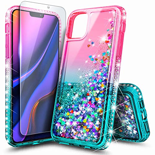 [해외]NageBee Case for iPhone 11 Pro Max (2019) Glitter Liquid Floating Bling Sparkle Moving Quicksand Waterfall Girls Women Cute Protective Phone Case with Tempered Glass Screen Protector -PinkAqua / NageBee Case for iPhone 11 Pro Max (...
