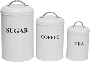 Set of 3 Metal Food Storage Canisters with Lids, Coffee, Tea, Sugar,Metal Containers (White)