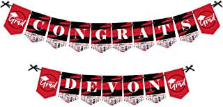 product image for Big Dot of Happiness Personalized Red Grad - Best is Yet to Come - Custom Red 2021 Graduation Party Bunting Banner and Decorations - Congrats Custom Name Banner