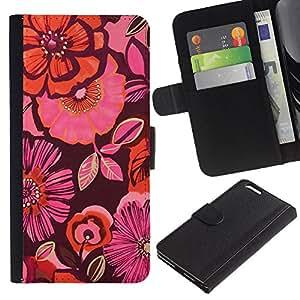 KingStore / Leather Etui en cuir / Apple Iphone 6 PLUS 5.5 / Orange Purple Flores rosas