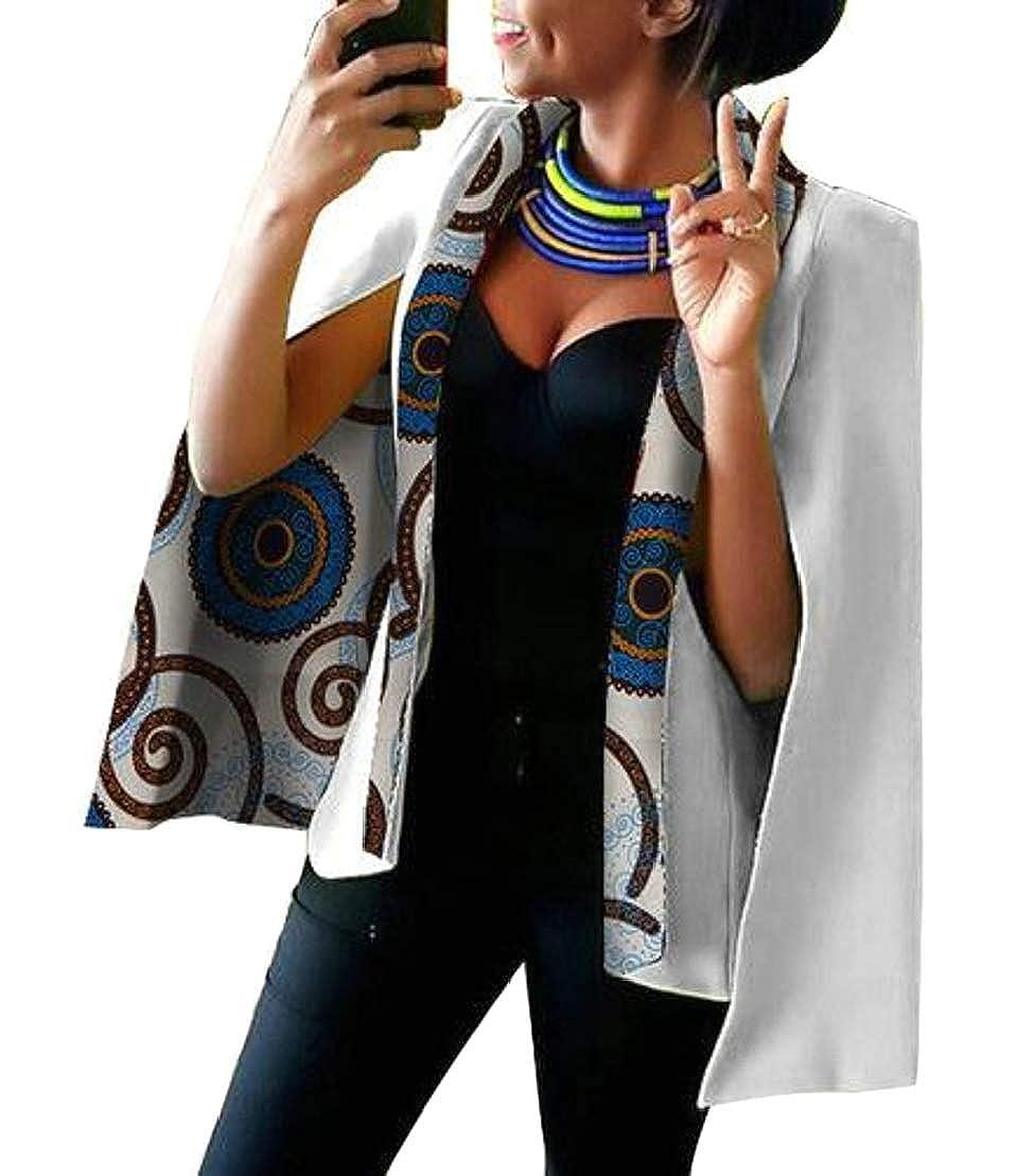 8 GenericWomen Long Sleeve African Floral Dashiki Split Sleeve Jacket Blazer Suits