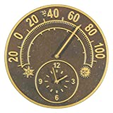 Solstice Thermometer Clock - Antique Copper