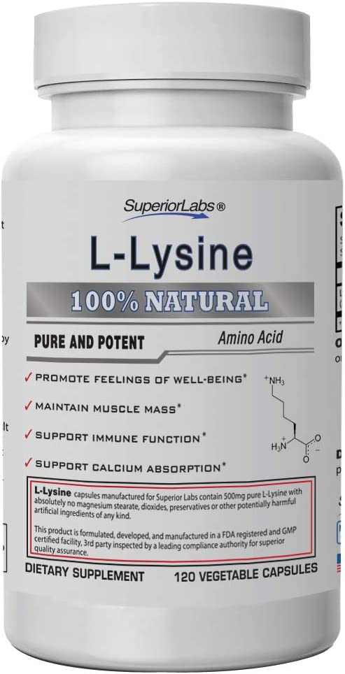 Amazon.com: Superior Labs – Best L-Lysine NonGMO - Dietary Supplement –500 mg Pure Active L-Lysine – 120 Vegetable Capsules – Supports Calcium Absorption – Immune System & Respiratory Health Support: Health & Personal Care