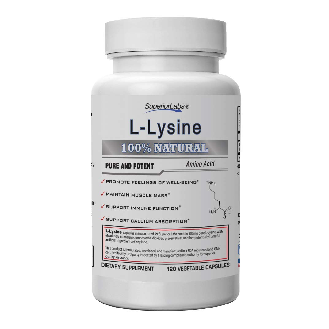 Superior Labs - Best L-Lysine NonGMO - Dietary Supplement -500 mg Pure Active L-Lysine - 120 Vegetable Capsules - Supports Calcium Absorption - Immune System & Respiratory Health Support by Superior Labs