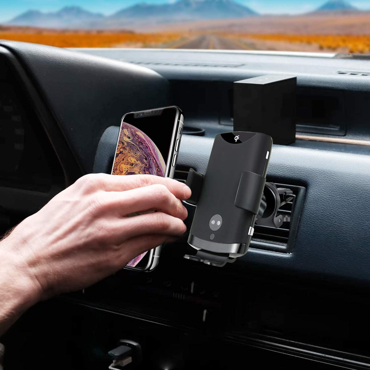 Auto-Clamping Qi Fast Wireless Car Charger Mount Phone Holder with Air Vent Phone Holder for for Galaxy S10//S10+//S9//S9+//S8//S8+//Note 9//Note 8,for iPhone Xs Max//XS//XR Zebrago Wireless Car Charger Mount