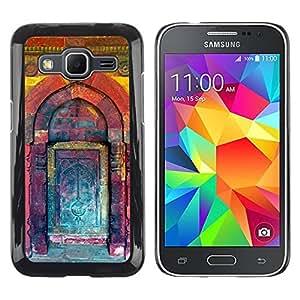 Paccase / SLIM PC / Aliminium Casa Carcasa Funda Case Cover para - Kuli Paint Teal Purple Building Door - Samsung Galaxy Core Prime SM-G360