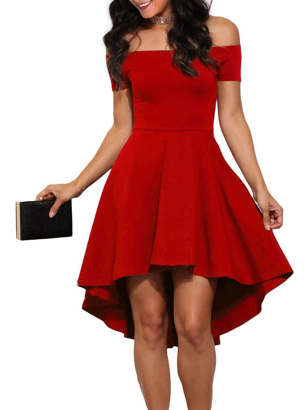 LOSRLY Womens Off Shoulder Semi Formal Short Evening Dress A Line Plus Size Red XL 14 16