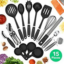 Vremi 15 Piece Kitchen Gadgets Set - 5 pc Cooking Utensils 4 pc Measuring Cups with Whisk Can Opener Pizza Cutter Cheese Grater Ice Cream Scoop Veggie Peeler - Small Prep Tools for Camping or Travel