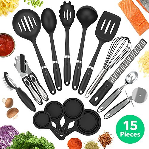 Vremi 15 Piece Kitchen Gadgets Set - 5 pc Cooking Utensils 4 pc Measuring Cups with Whisk Can Opener Pizza Cutter Cheese Grater Ice Cream Scoop Veggie Peeler - Small Prep Tools for Camping or Travel by Vremi