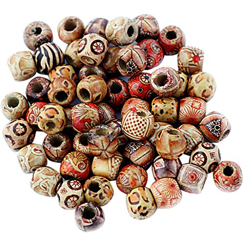 MonkeyJack 100 Pieces Vintage Wooden Beads Mixed Large Hole European Charms Jewelry Making (Vintage Wooden Bead)