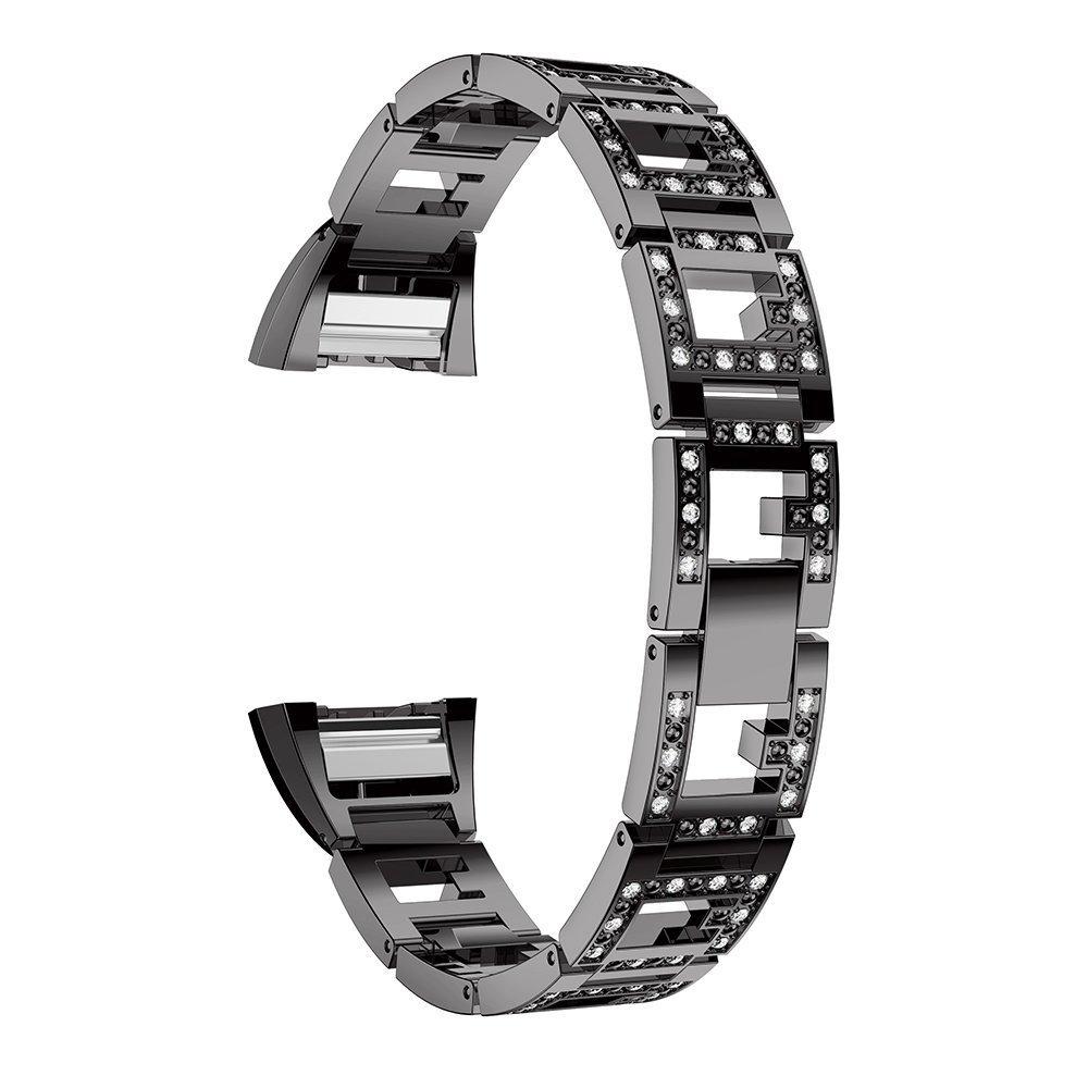 【日本製】 For Fitbit Charge 2バンド B078RZJ8SY For、ステンレススチール交換クリスタルラインストーンジュエリーでスマートウォッチストラップ手首バンドfor Fitbit Charge 2 HR Fitbit B078RZJ8SY ブラック ブラック, 志波姫町:ff3b101c --- arianechie.dominiotemporario.com