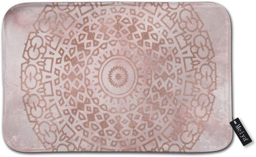 Zara-Decor Misty Alfombrilla de baño de mármol Rosa Dorado Mandala para Uso Diario Elegante Alfombra de Piso Interior baño tapetes Antideslizante 23.6 x 15.7 Pulgadas: Amazon.es: Hogar