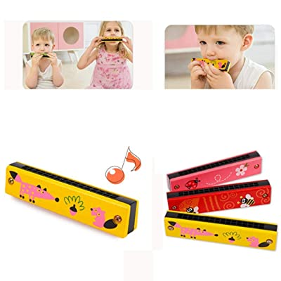 Kindes Cartoon Wooden Kids Harmonica Musical Instrument Puzzle Educational Toy Musical Instruments: Home & Kitchen