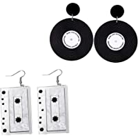 Mountainer 2 Pairs Personality Tapes Record Acrylic Dangle Drop Earrings for Women Girl Punk Party Jewelry