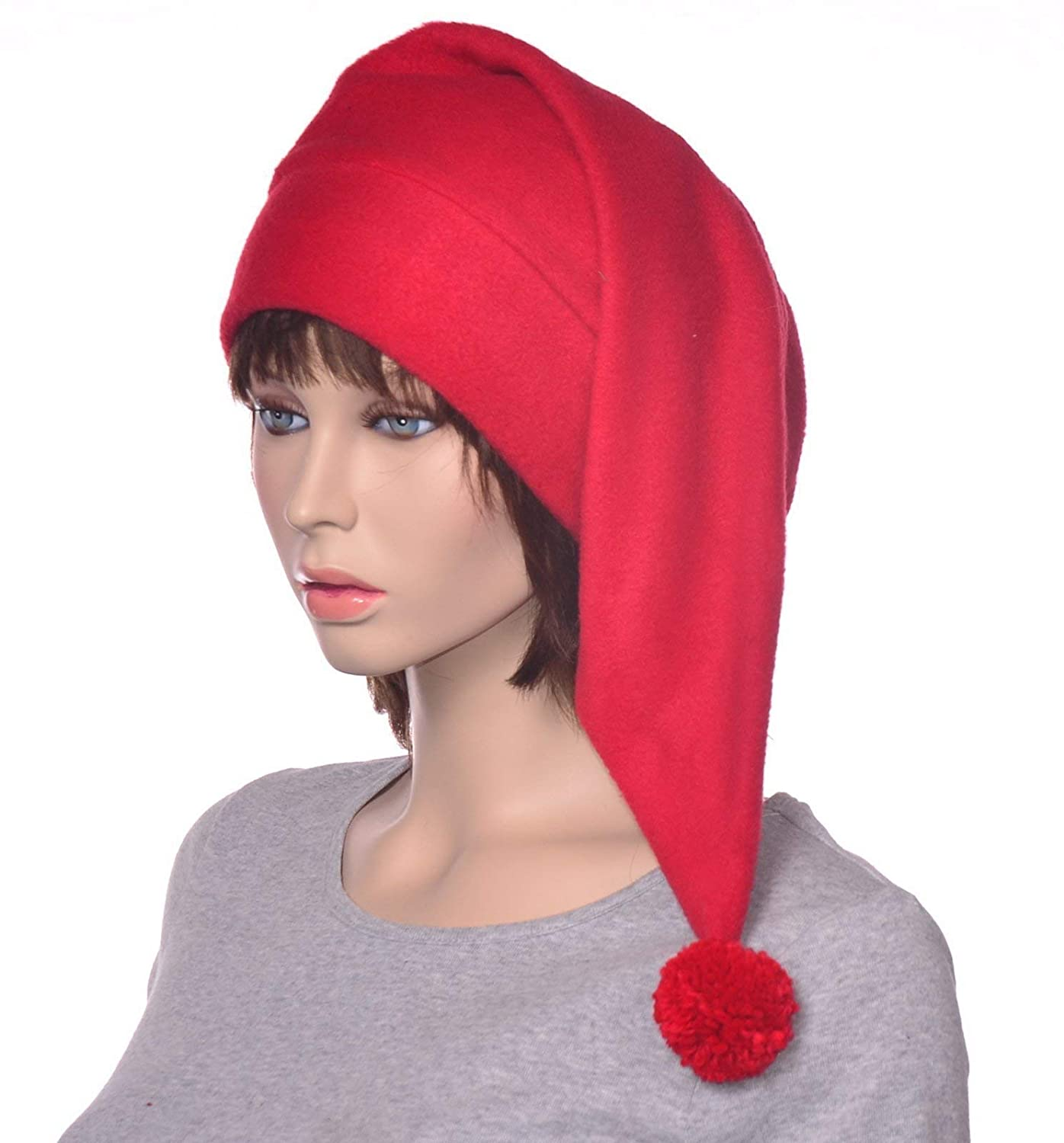 Red Fleece Stocking Cap with Large Pompom