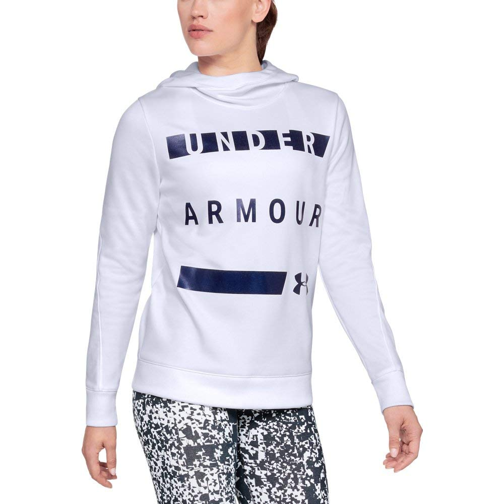 Under Armour Women's Synthetic Word Mark Fleece Pullover, White (100)/Tonal, X-Small