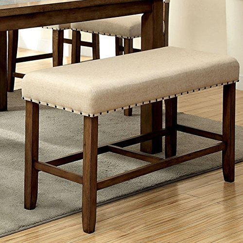 Furniture of America Lucena Upholstered Pub Dining Bench