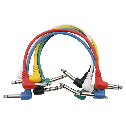6 Pedal Board Hookup Cable Connections Electric Guitar Cord Right Angle Six Pack