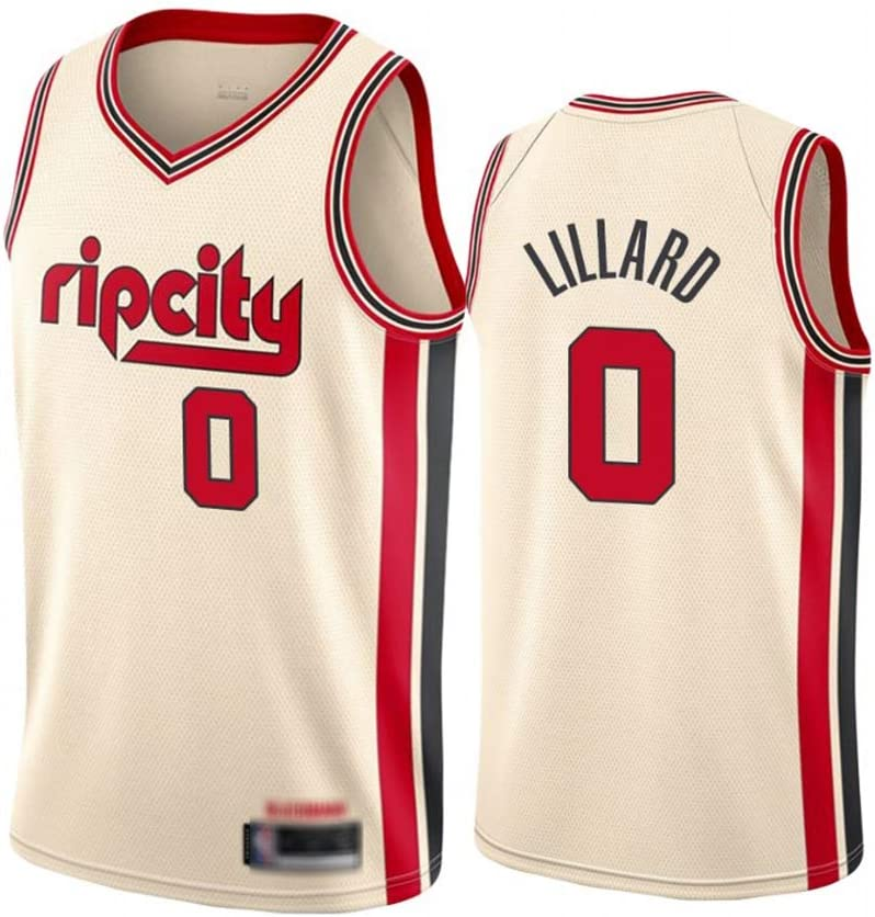 Mens Basketball T-Shirt Suitable for Portland 0 Lillard Summer Outdoor Vest Comfortable and Breathable Basketball Jersey White-L