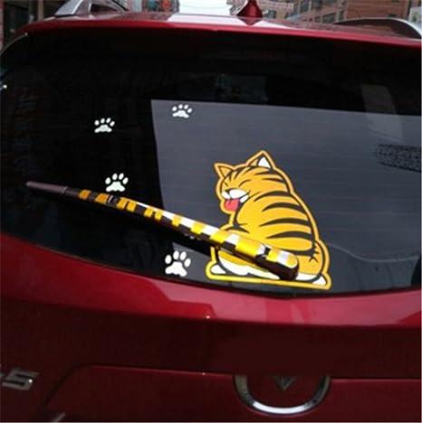 Fochutech Car Auto Body Sticker Funny Cat Tail Rear Windshield Window Wiper Self Adhesive Side Truck Vinyl Graphics Decals Yellow