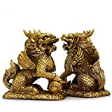 """Feng Shui Set of Two Golden Brass Chi Lin/Kylin Wealth Prosperity Statue + Set of 10 Lucky Charm Ancient Coins on Red String , Home Decoration Attract Wealth and Good Luck (2.3""""L x 1""""W x 2.5""""H)"""