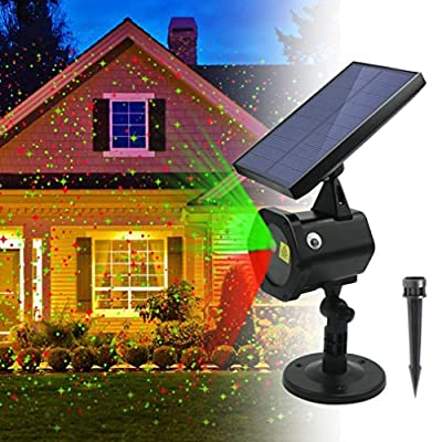 Solar Light, Hatop Star Shower Solar Red Green Dancing Lights Waterproof Outdoor Lights