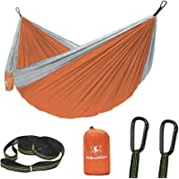 pys Double Portable Camping Hammock with Straps Outdoor (Orange+Gray)
