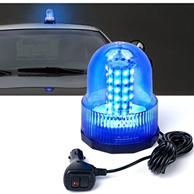 Xprite Super Bright Blue Rotating Revolving LED Beacon Strobe Light,with Magnetic Mount, 60LEDs 15W Emergency Warning Caution Flashing Light for Snow Plow Tru Light for Snow Plow Truck UTV 12v Vehicle: Automotive