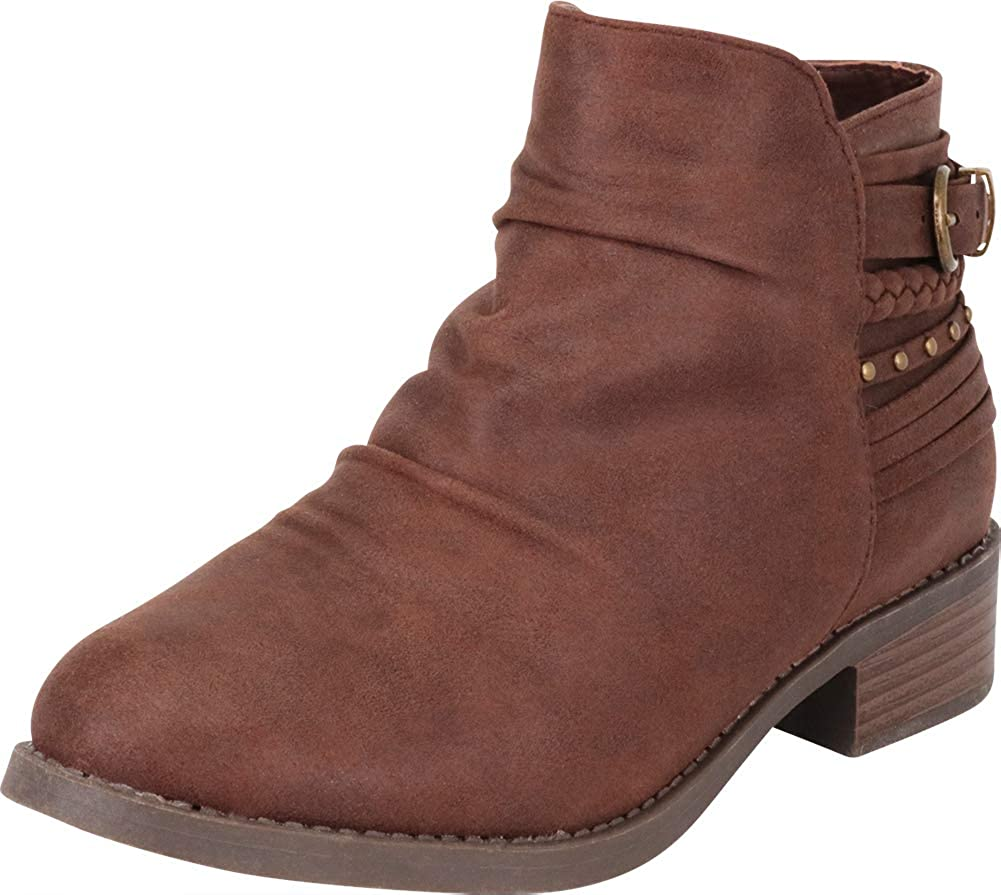 Brown Imsu Cambridge Select Women's Slouch Strappy Braid Studded Low Chunky Heel Ankle Bootie