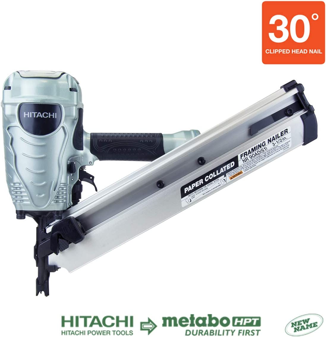 Hitachi NR90ADS1 2 to 3-1//2 Paper Collated Framing Nailer