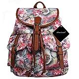 xhorizon TM FL1 Vintage Floral Printed Leisure Canvas Shoulder Backpack Travel Bag (Rose)