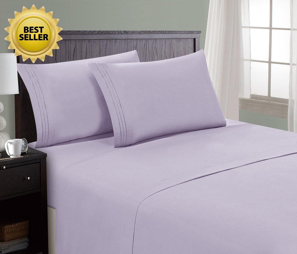 HC Collection Bed Sheet & Pillowcase Set Lavender Hotel Luxury