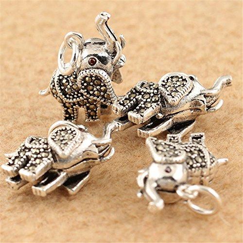 MFMei Thai Sterling Silver Marcasite Elephant Dangle Bead (CY125)