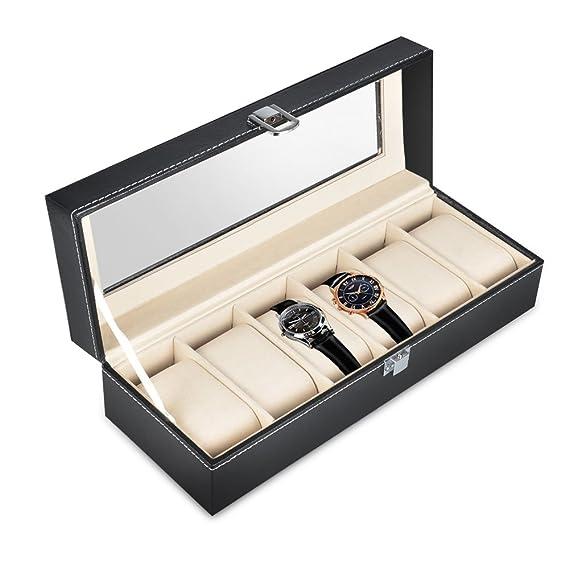 OTraki Estuche para Relojes 6 Caja de Relojes Piel Sintética Color Negro Organizador Relojes Hombre Mujer Almohada extraíble para Exhibir y Recoger