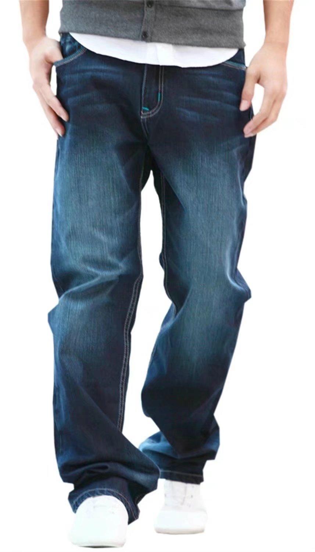 EMAOR Mens Hip Hop Baggy Denim Pants Straight Leg Loose Jeans