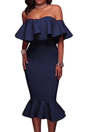 c1a15bcc8e6 AlvaQ Women s Off The Shoulder Evening Mermaid Midi Dress Plus Size Formal  Ladies Small Blue
