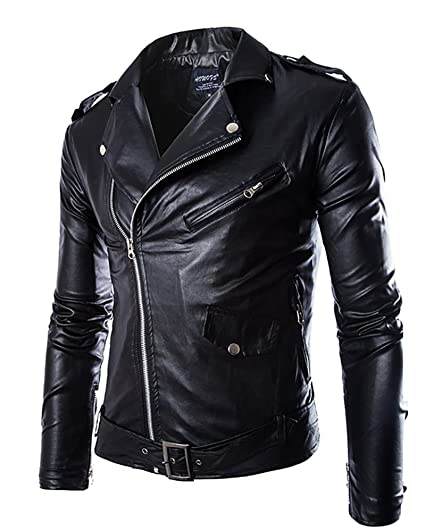 Homme Slim Fit Jacket Imitation Cuir Biker Veste Jacket Manteau Punk Style  Zipper Up Noir 2XL 5cda4c85058