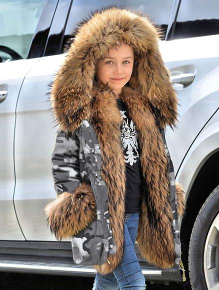 Roiii Kids Girls Bodys Winter Hooded Coat Jacket Faux Fur Parka School Jackets Outwear New Age 2 3 4 5 6 7 8 9 10 11 12 13 Years