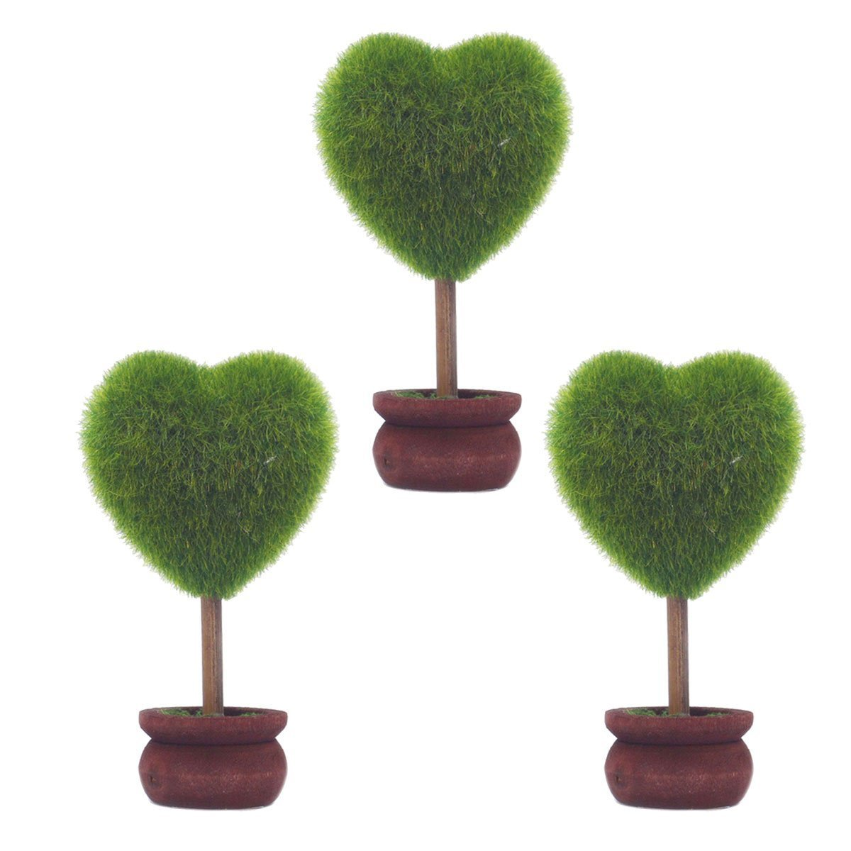 St 3 Styles Can Choose- Home Decoration Black Solid Wood Flower Pots Artificial Plants Topiary Tree Mini Flocking Crafts (NO.3 Green)